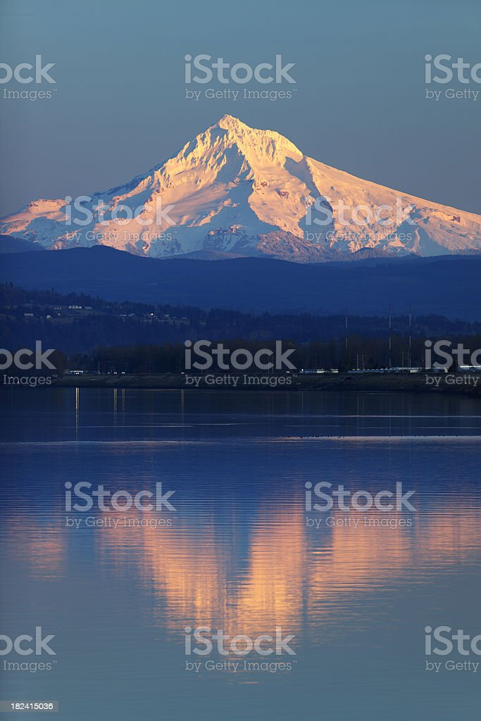 Mt Hood Columbia River Oregon Reflection. stock photo