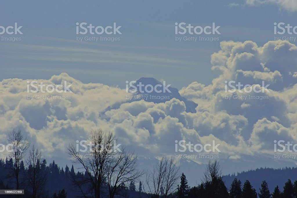 Mt. Hood Cumulus Clouds stock photo