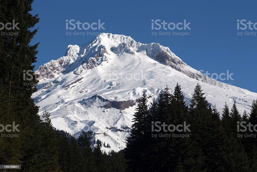 Mt. Hood daytime sunny day west view stock photo