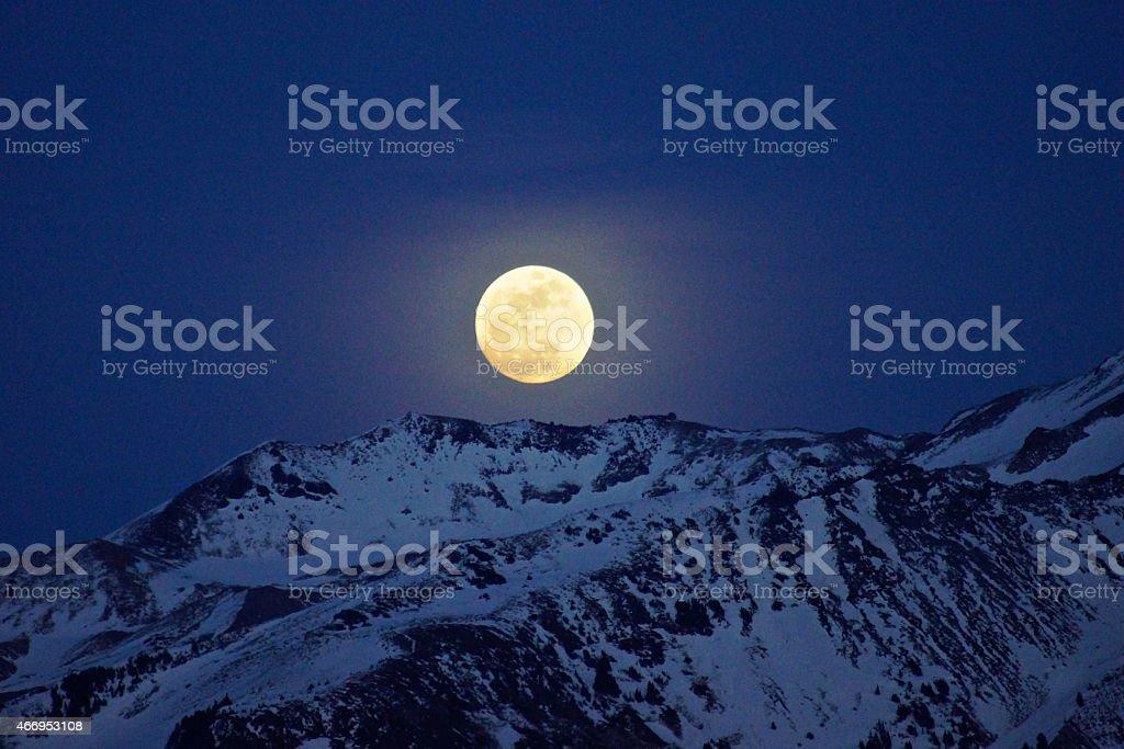 Mt. Hood Full Moon stock photo