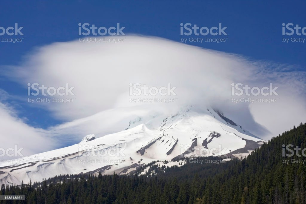 Mt. Hood in the clouds stock photo