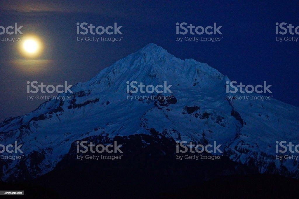 Mt. Hood Moon Light stock photo