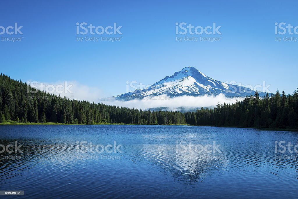 Mt. Hood, mountain lake, Oregon stock photo