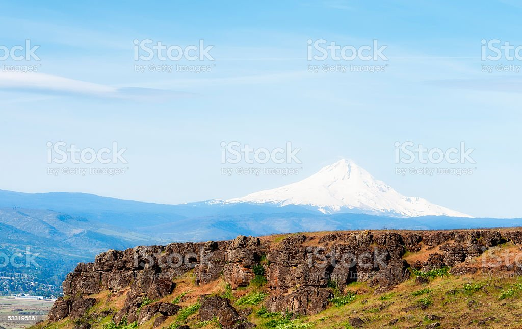 Mt. Hood Peak seen from the Columbia River Gorge stock photo