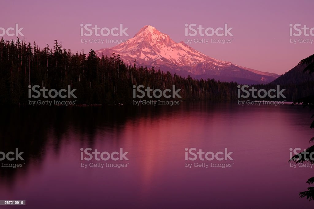 Mt. Hood reflection in Lost Lake stock photo