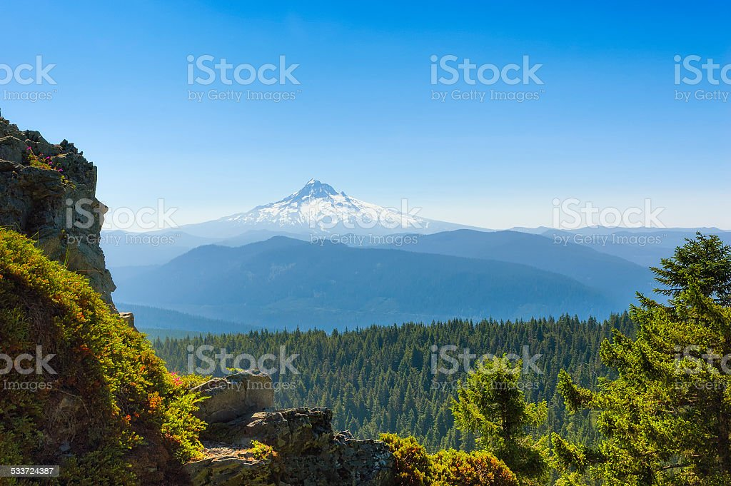 Mt. Hood Seen From Larch Mountain stock photo