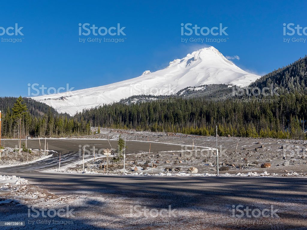 Mt Hood South Side Oregon from White River West Sno-Park stock photo