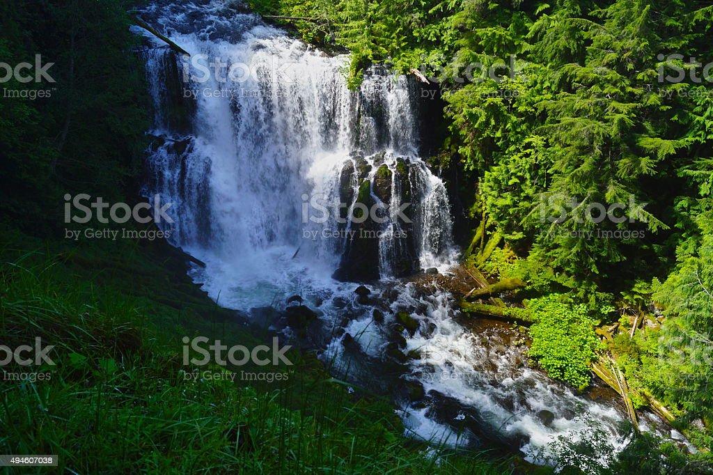 Mt. Jefferson Area Waterfall stock photo