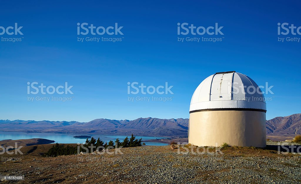 Mt John Observatory, New Zealand stock photo