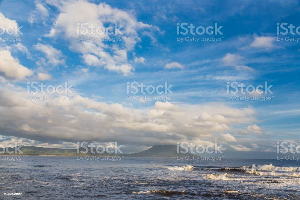 Mt. Kaimon volcano and cloudscape in Kagoshima, Kyushu, Japan stock photo