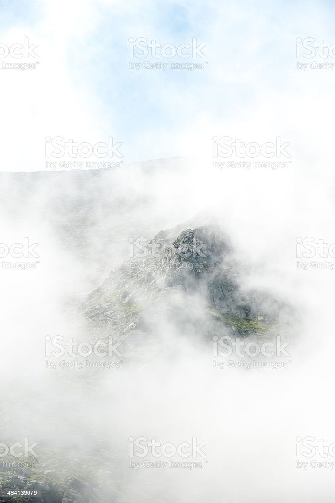Mt. Katahdin in the clouds stock photo