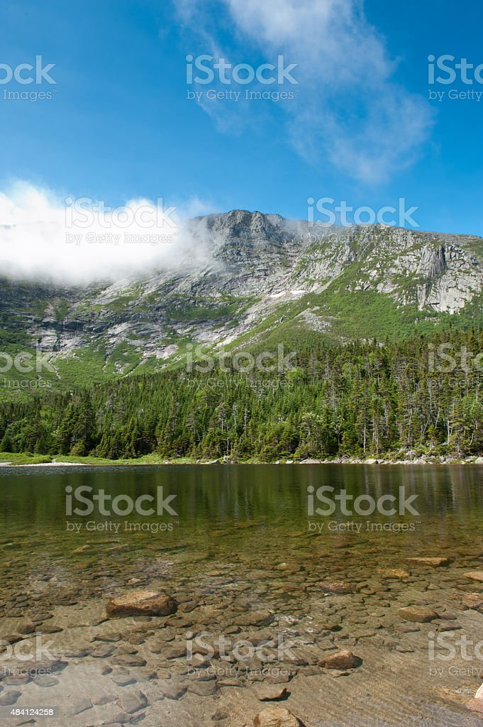 Mt Katahdin with pond at the base stock photo