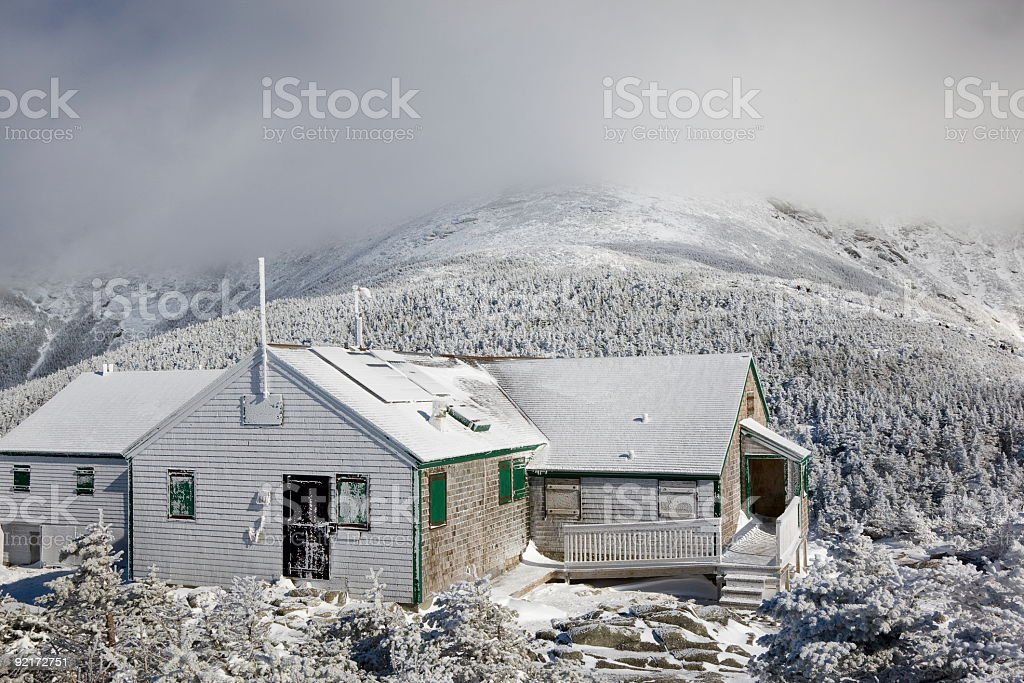 Mt Lafayette and Greenleaf Hut- Franconia Range, New hampshire. stock photo