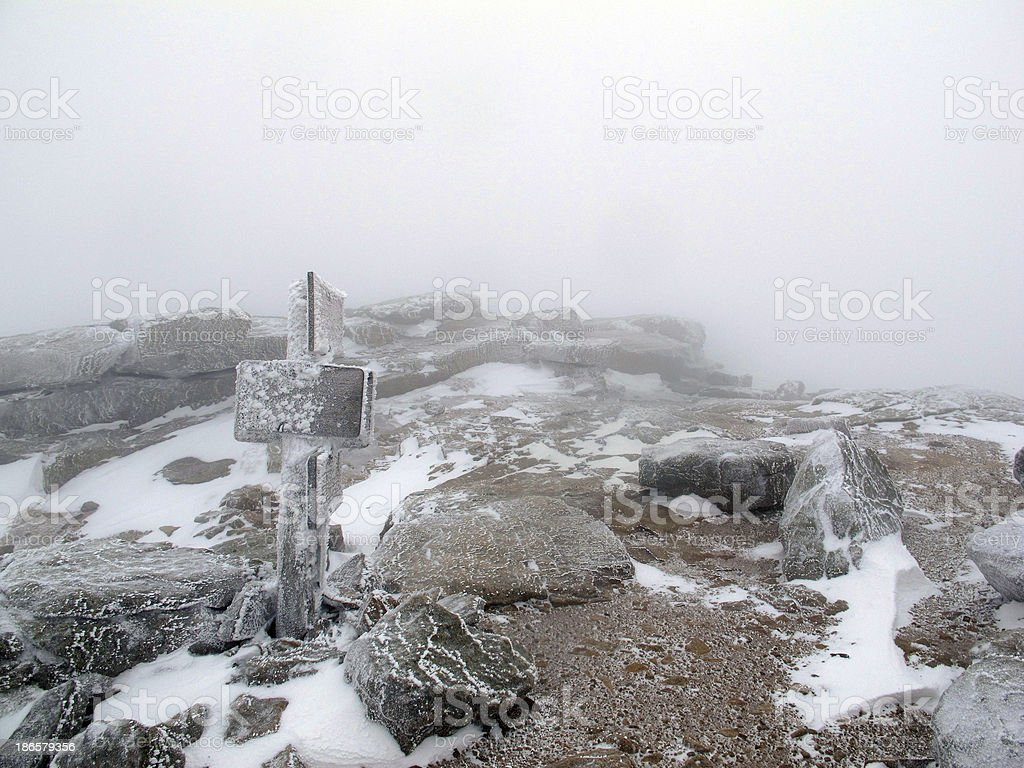 Mt Lafayetter Summit in a Whiteout stock photo