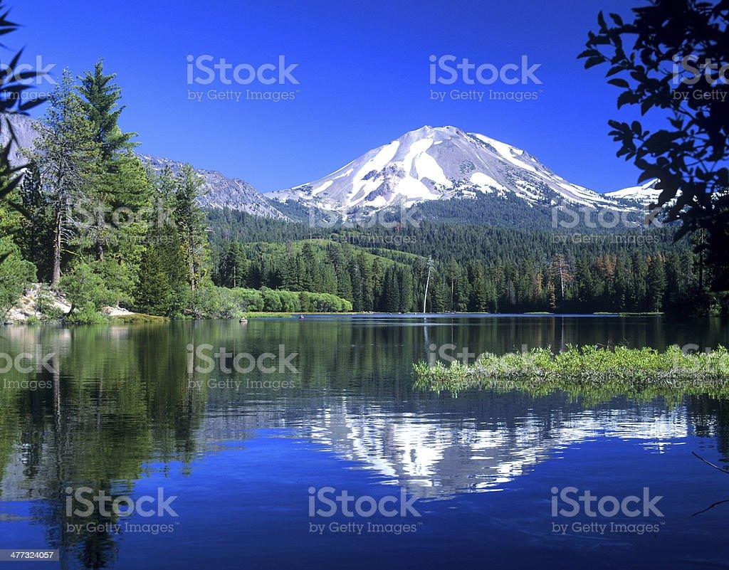 Mt. Lassen Reflected in Manzanita Lake stock photo