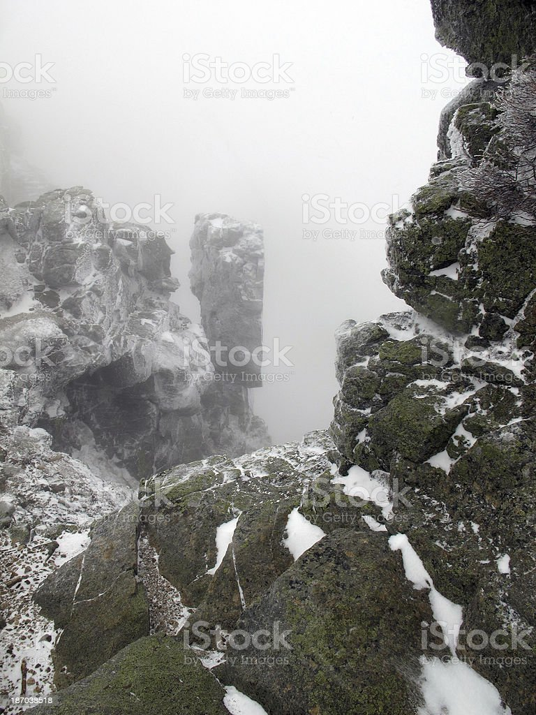 Mt Lincoln's Gargoyles in a Whiteout stock photo
