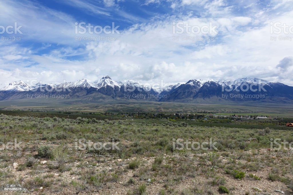 Mt. McCaleb and Lost River Mountains stock photo
