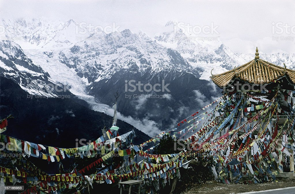 Mt. Meili and Prayer Flags on Yunnan/Tibet Border stock photo