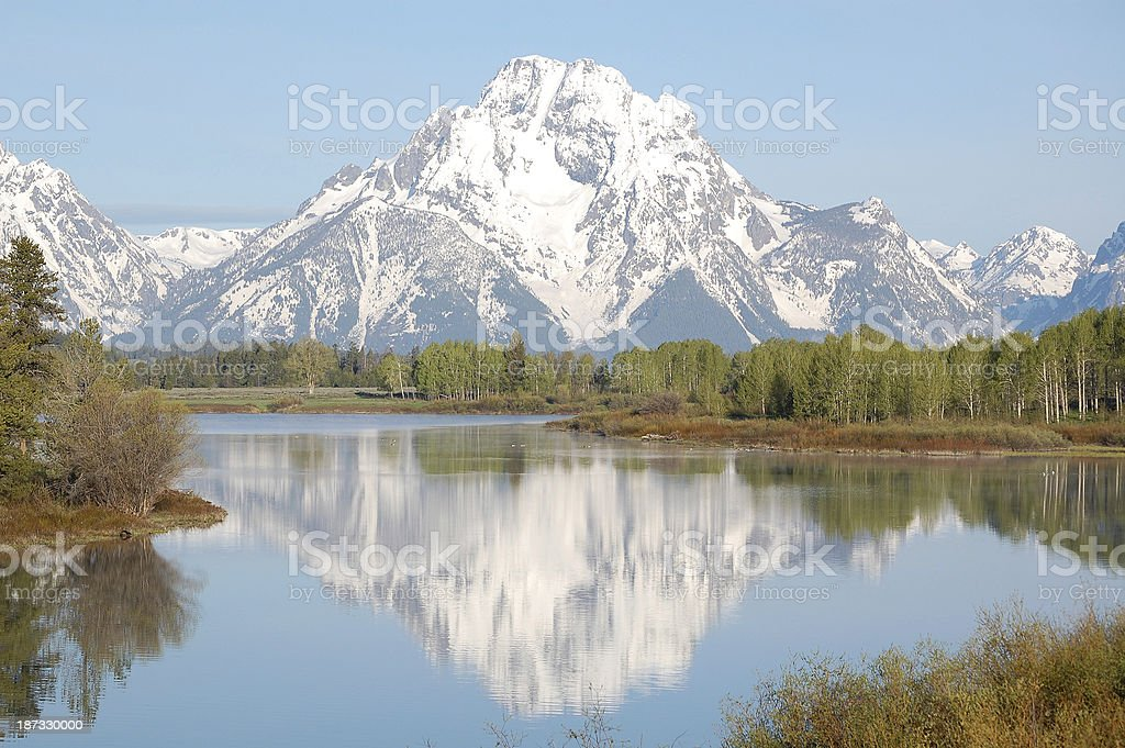 Mt Moran Reflected in Oxbow Bend Grand Teton National Park royalty-free stock photo