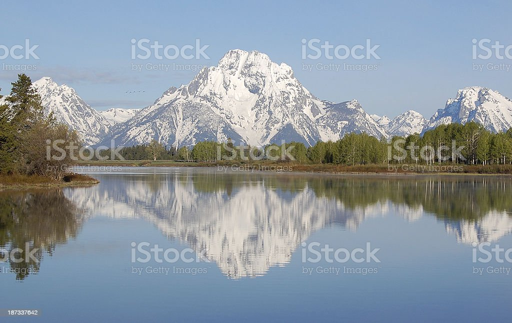 Mt Moran Reflection Oxbow Bend Grand Teton National Park royalty-free stock photo
