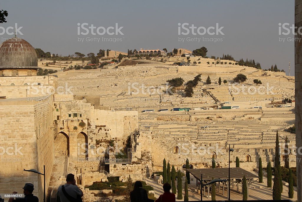 Mt of Olives from Temple mount stock photo