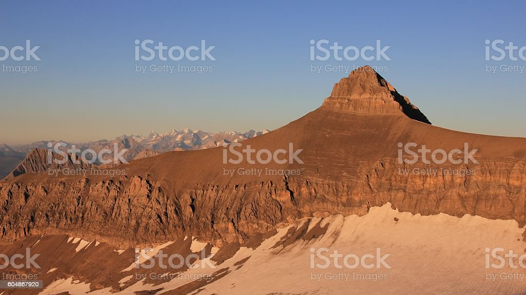 Mt Oldenhorn in golden evening light stock photo