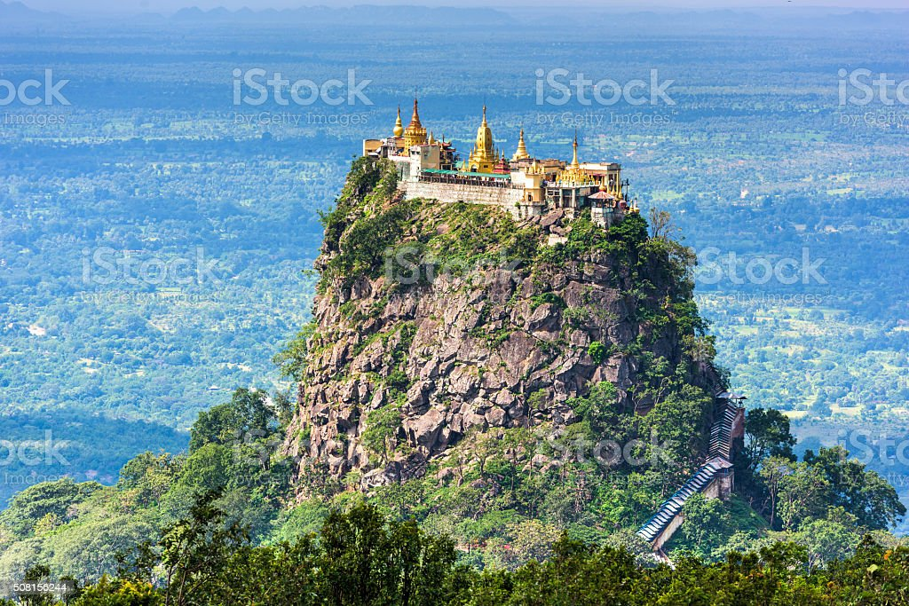 Mt. Popa in Myanmar stock photo