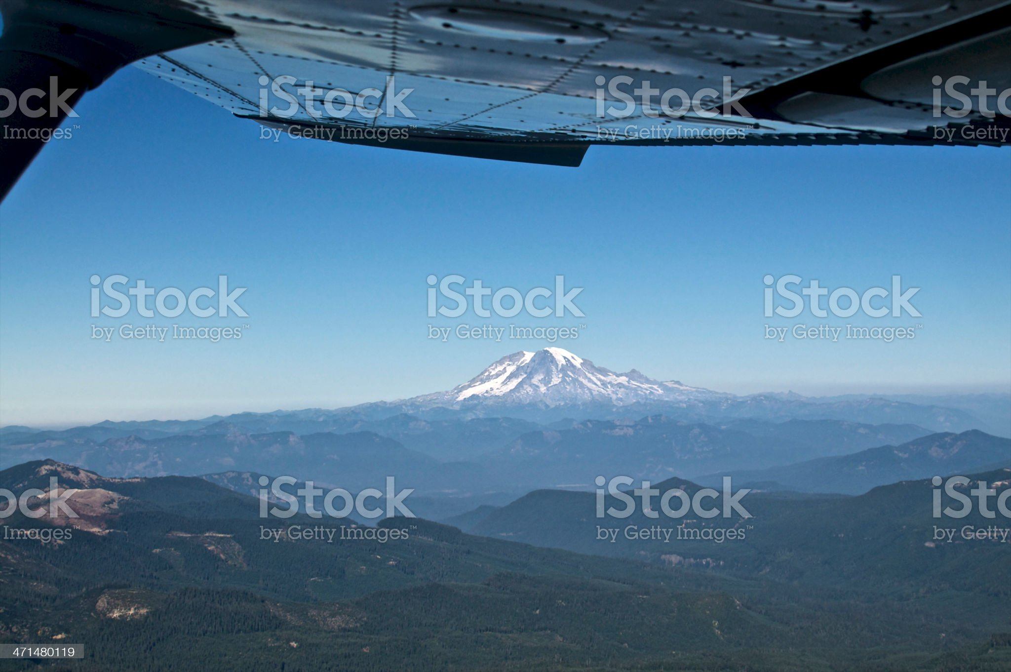 Mt Rainier Aerial October airplane wing Blue Sky royalty-free stock photo