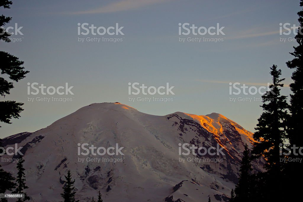 Mt. Rainier Alpenglow stock photo