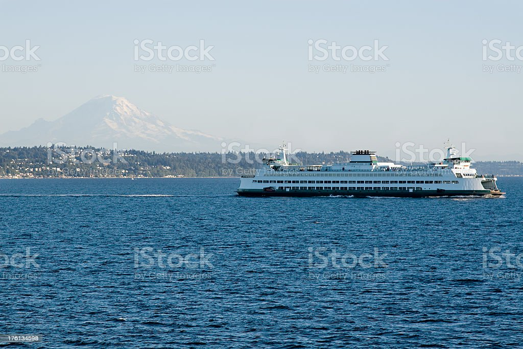Mt. Rainier and a Ferry in Puget Sound royalty-free stock photo