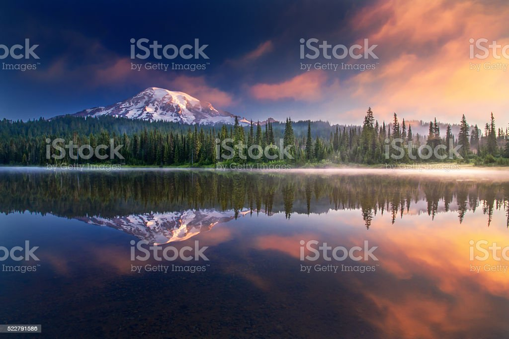 Mt Rainier and reflections stock photo