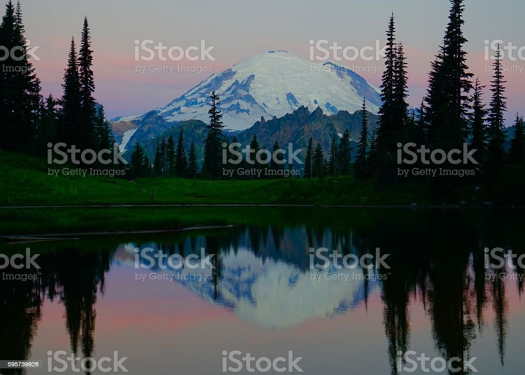 Mt. Rainier Double Dawn stock photo