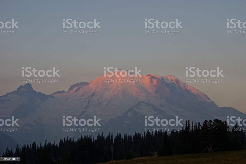Mt. Rainier Fire Ice stock photo