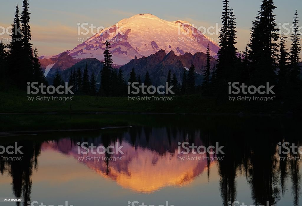 Mt. Rainier Fire stock photo