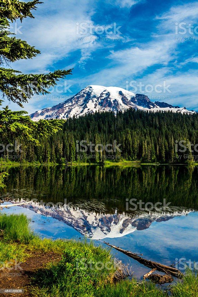 Mt. Rainier from Reflection Lakes stock photo