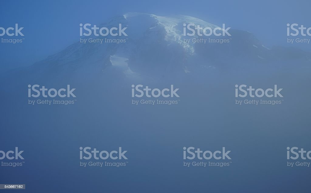 Mt. Rainier High Fog stock photo