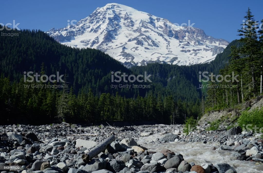 Mt. Rainier Rise stock photo