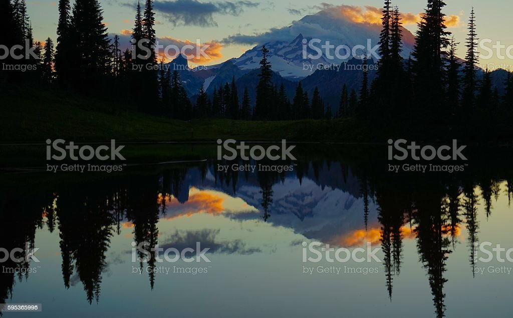Mt. Rainier Sunset Fire stock photo