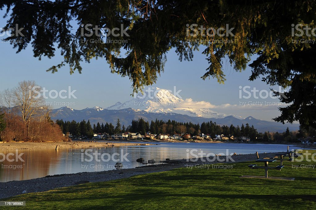Mt. Rainier Sunset royalty-free stock photo