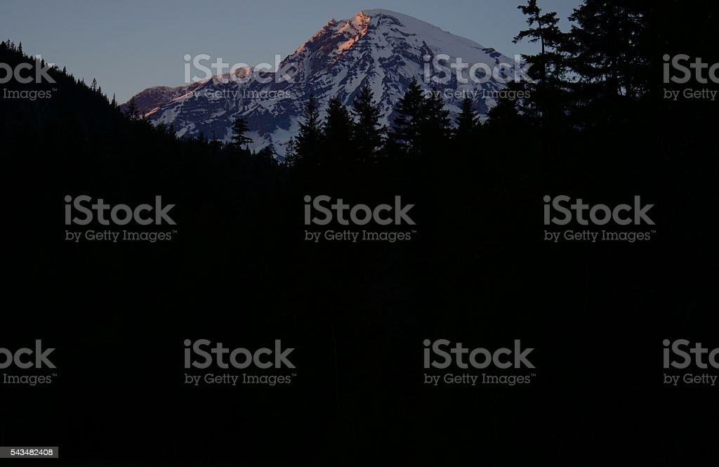 Mt. Rainier Twilight stock photo