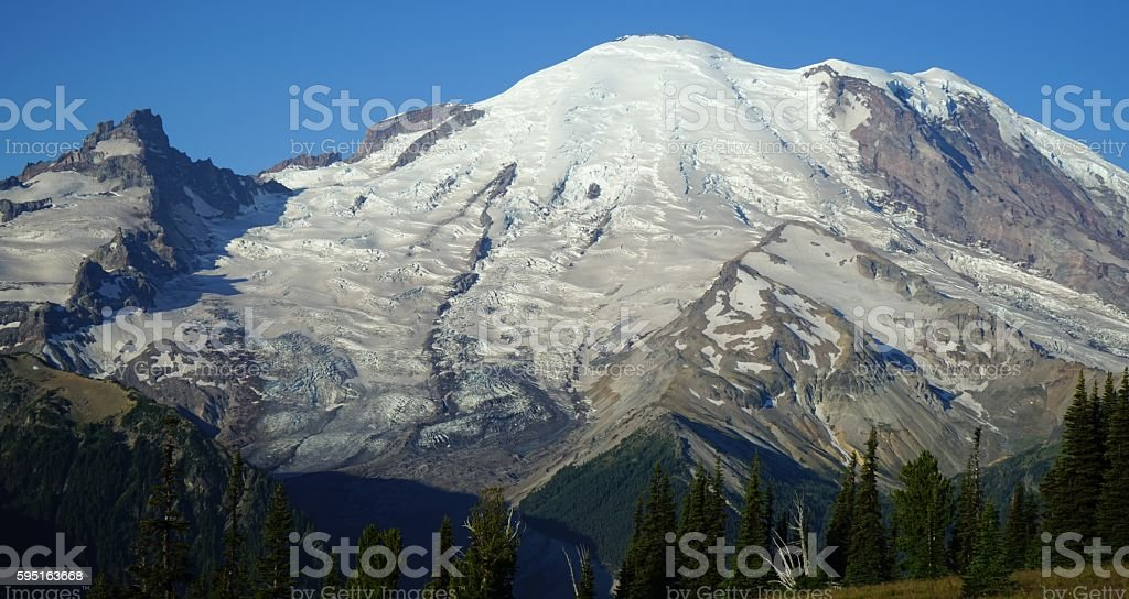 Mt. Rainier Wall Of Ice stock photo