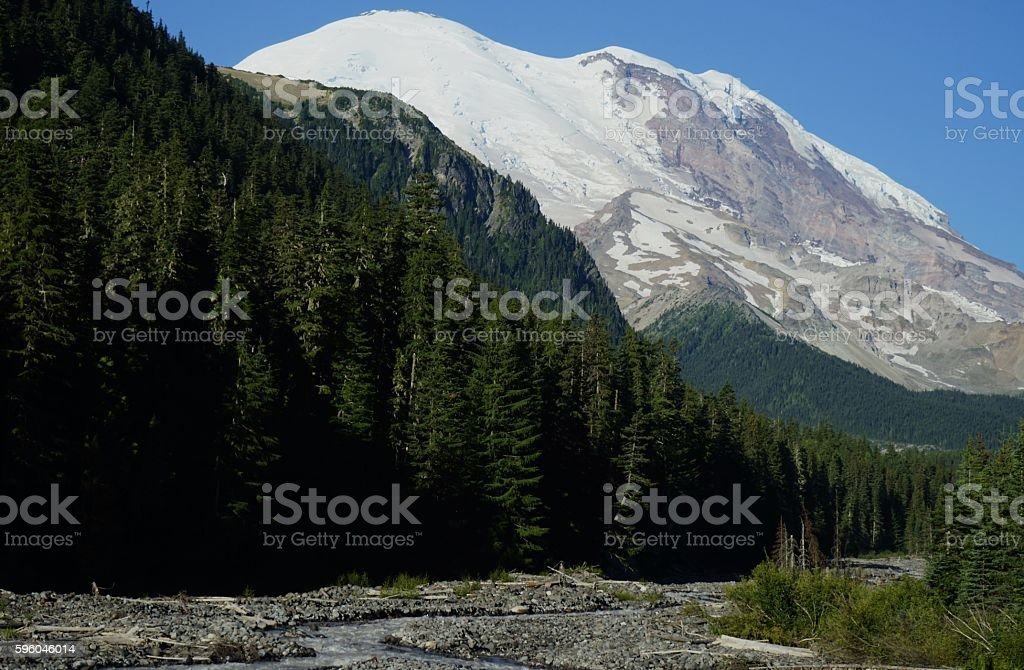 Mt. Rainier White River stock photo