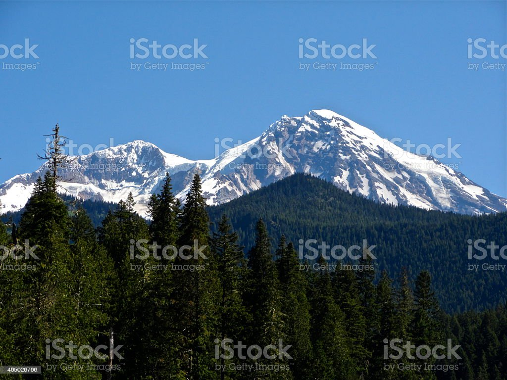 Mt. Rainier's Liberty Cap stock photo