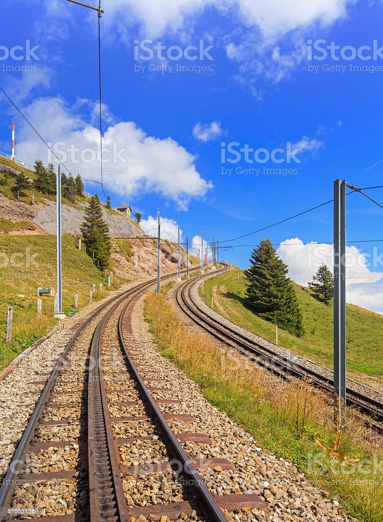 Mt. Rigi, rack railway stock photo