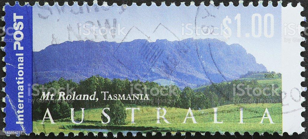 'Mt Roland, Tasmania on an Australian stamp' stock photo