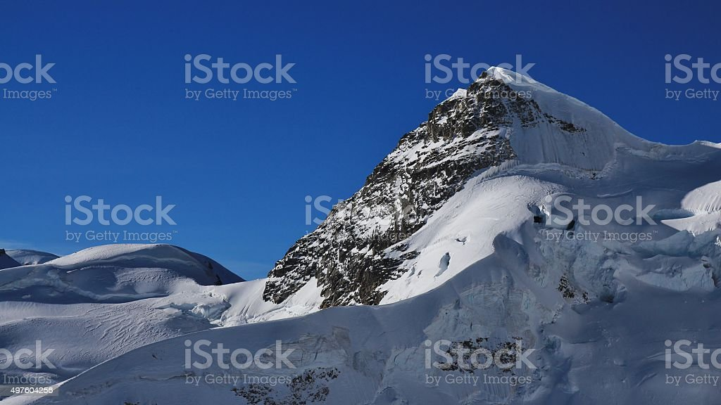 Mt Rottalhorn seen from the Jungfraujoch stock photo