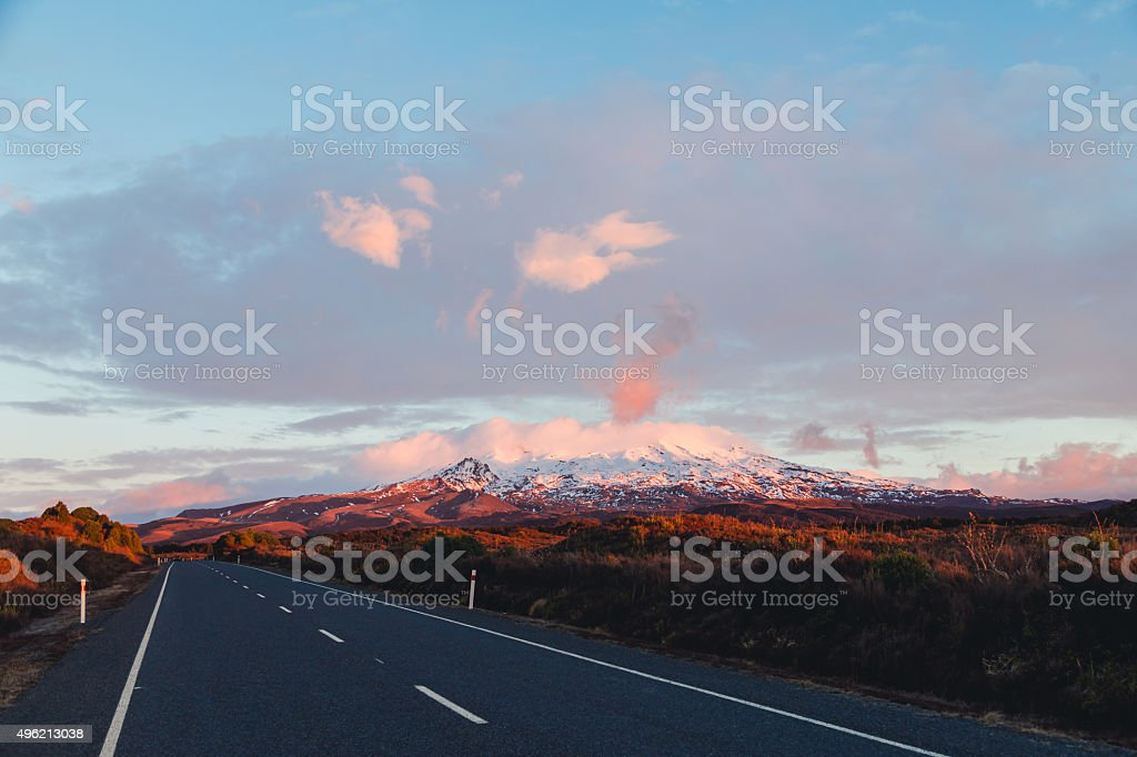 Mt Ruapehu Sunset stock photo