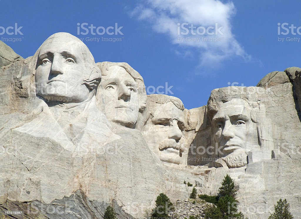 Mt Rushmore National Monument on a beautiful blue sky day stock photo