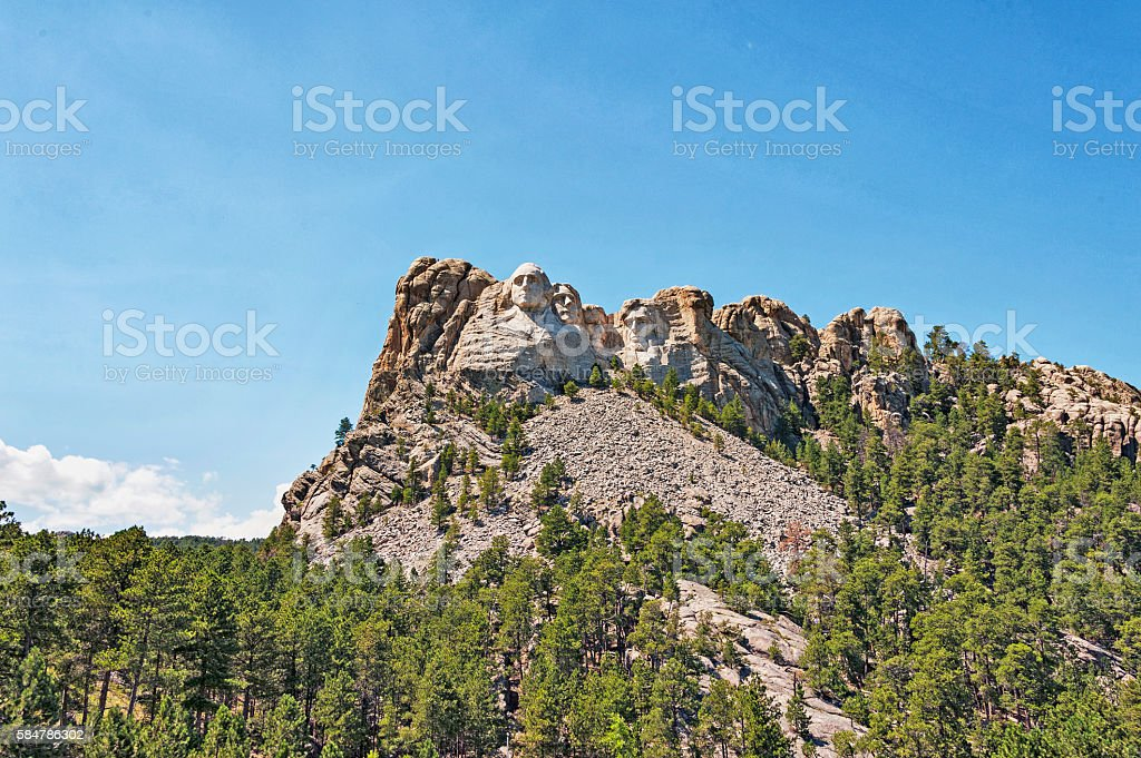 Mt Rushmore Pesidents on Mountain from Below stock photo
