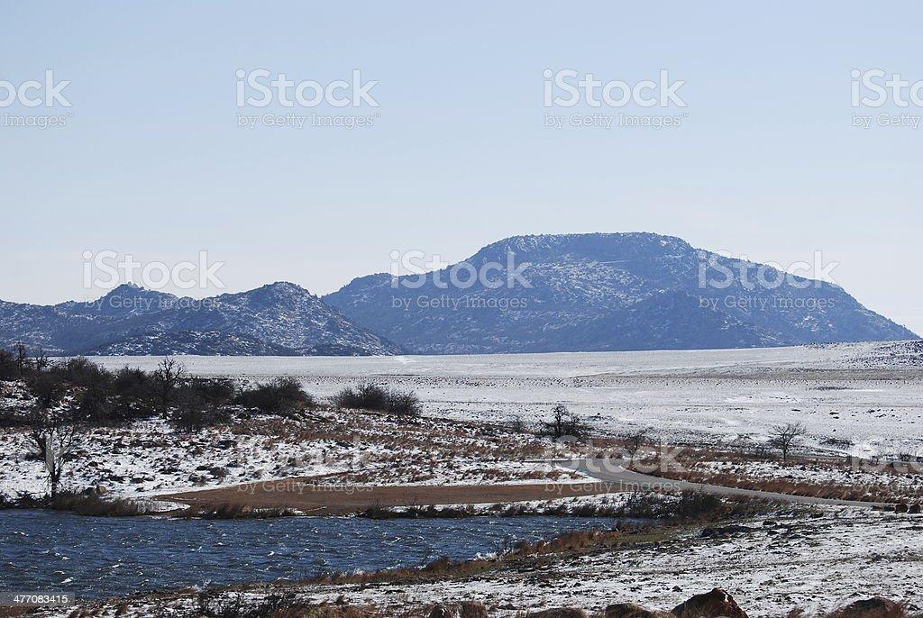Mt Scott in the snow stock photo